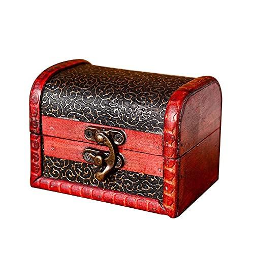 Mini Caja de Almacenamiento de Madera para joyería, Cofre del Tesoro, Caja Vintage, Organizador, Cajas anticuadas para cumpleaños, decoración de Bodas, Caja de Recuerdos de Pascua para Mujeres