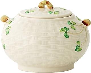 Belleek Group Shamrock Sugar Bowl, 4-Inch, White