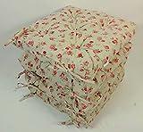 Set 4 x Stuhlkissen/Sitzkissen Klara 42 x 42 cm Dicke 8 cm, Stoff Mirha Leinen Rose - Made in EU