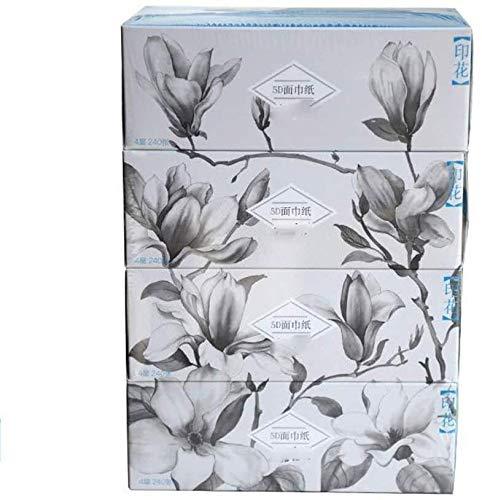 MGE Toiletpapier, Tissue Box, Bedrukte Bamboe Pulp Natuurlijke Kleur Tissue, Verwijderbaar Restaurant Papier, 4 Lagen, 60 Vellen, Uniek Verpakking Ontwerp