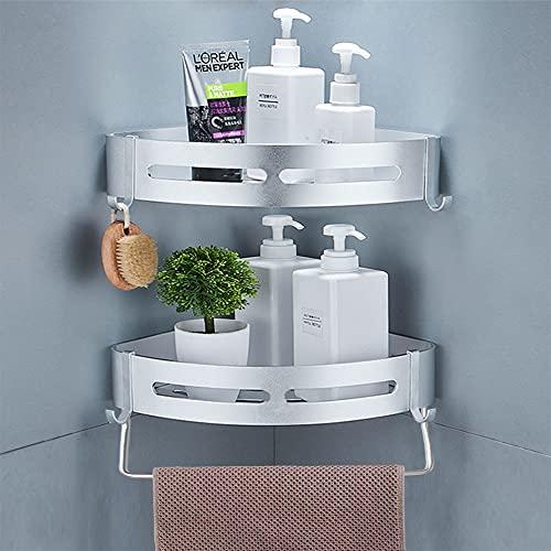 Yeegout Estantes de esquina de ducha sin taladro con barra y ganchos Estante de baño de aluminio...