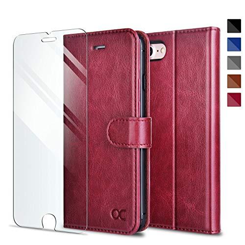 OCASE Wallet Case Compatible for iPhone SE 2020 Case/iPhone 8 Case [Card Slot] [Kickstand] [Tempered Glass Screen Protector] PU Leather Flip Phone Cover for iPhone SE (2020)/iPhone 8/7 - Burgundy