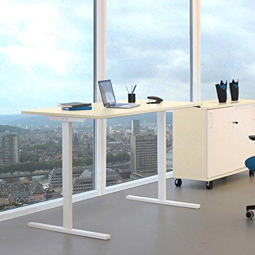 PROFI elektrisch höhenverstellbar Schreibtisch EASY 160x80cm Motortisch LINAK, Gestellfarbe:Weiß