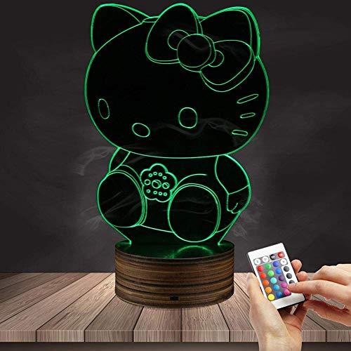 3D Illusion Nachtlicht Hellokitty Fernbedienung Tischlampe 7 Farben Optisches USB LED Nachtlicht