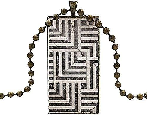 YOUZYHG co.,ltd Halskette für Frauen Männer Party Geschenk Halskette Lange Kette mit Rechteck Halskette Schmuck Marokko Art Deco Fliesen Karte