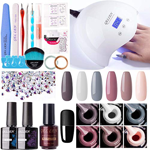 Gellen Gel Nail Polish Kit with UV Light LED Nail Lamp- Nude Grays 6 Colors Nail Gel Starter Kit, Top Base Coat Matte Top Manicure Tools Popular Nail Art Decorations Rhinestones Set