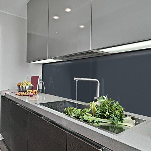 KeraBad Küchenrückwand Küchenspiegel Wandverkleidung Fliesenverkleidung Fliesenspiegel aus Aluverbund Küche Anthrazit glanz/matt 60x300cm