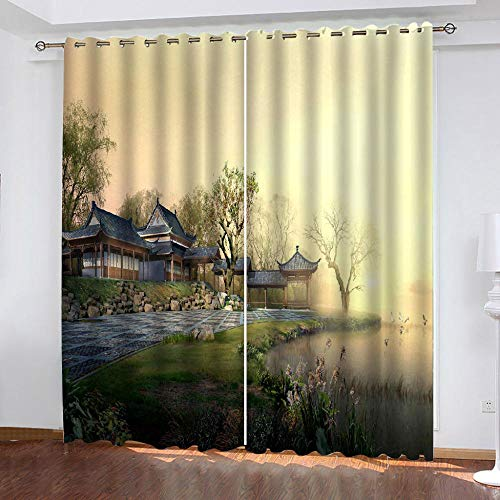 LOVEXOO drapes Modern building 28.54'x96.46' Eyelet Blackout Curtains Window Material Blackout Thermal Insulated Ring Top Curtain for Bedroom 2 PANEL