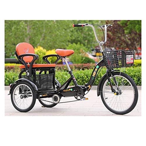 LICHUXIN 16 Pulgadas Bicicleta Pedal Ciclismo Triciclo Bicicleta con Cestas Bicicleta Triciclo Plegable con Asiento Respaldo para Adultos Personas Mayores Compras Cruise (Color : Black)