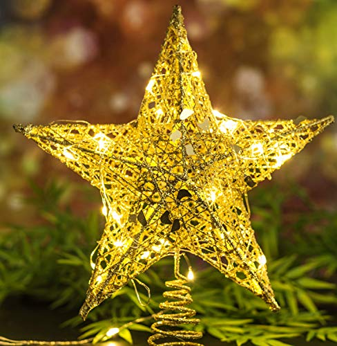 WUJO Christmas Treetop Star, 10 Inches Golden Tree Topper with 30 LED Lights on 10 FT String for Christmas or Home Decor