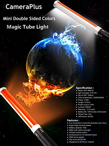 CameraPlus CP-MTL160D (2 Batteries pack) - Mini 41cm Travel size Double Sided Colors Diffuser Magic Tube Light 160 LED Light Source for Camera - All-in-One Solution for photography and videography