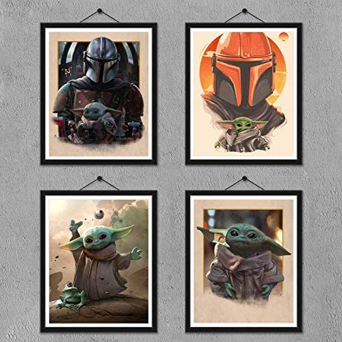 FUNHUA Baby Yoda The Child Mandalorian Poster Prints Set of 4 Canvas Posters Unframed 8 x 10 product image