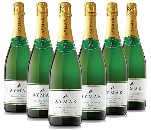 AYMAR BRUT Reserva 2016 Espumoso Ecológico – Macabeu, Xarel.lo y Parellada, Classic Penedes, Pack de 6 botellas X 75 cl