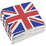 Tovaglioli di Carta Monouso Decorativi per Feste Stile Union Jack, 100 Pezzi, Bandiera Inglese, 16,5 x 16,5 cm