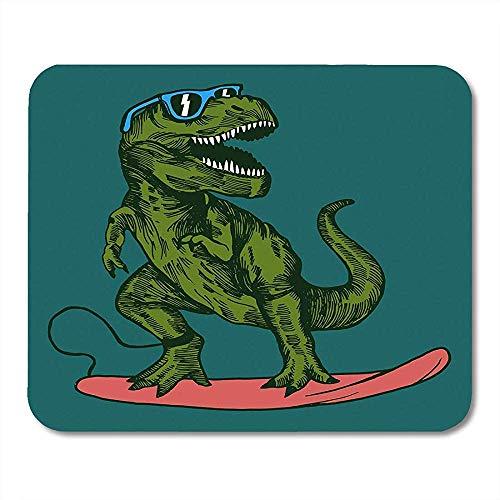 Muismat Dino Happy Dinosaur Surfer Het dragen van zonnebril Tekenen Dier Grafische Muismat 25X30cm