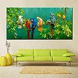 Grand Taille Numérique Imprimé Toile Peinture Coloré Perroquets Imprimer Affiche Pour Le Salon Mur Art Photo Décor À La Maison Cadeau 60x120cm sans cadre