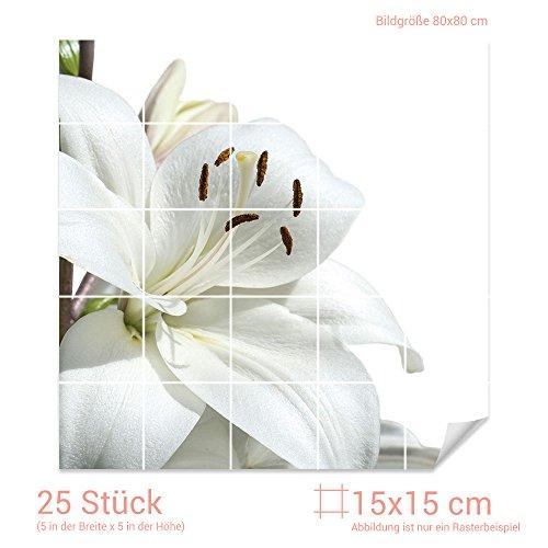GRAZDesign Fliesenaufkleber Schnee-Weißer Lilie für Kacheln Wand-Deko für Bad Küchen-Fliesen (Fliesenmaß 15x15cm (BxH) / Bild 80x80cm (BxH))