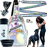 BaR-K Holographic Reflective Puppy Dog Walking Accessories -7 Pc Crossbody Bag Training Treat Pouch, Leash, Poop Bag & Dispenser, Bottle, Bowl, Whistle - Night Travel Hiking Camping Safety Gear Gift