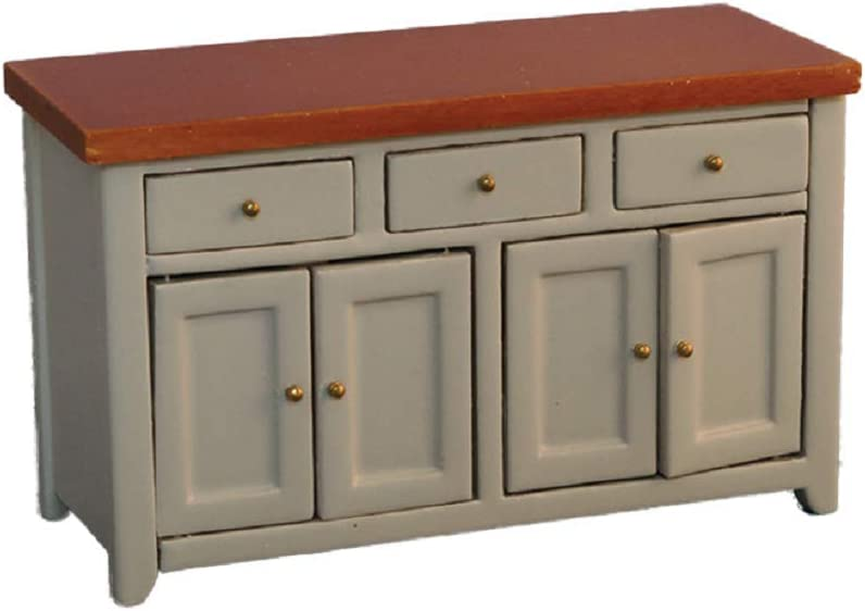 Courier shipping free Dolls House Grey Pine Sideboard Outstanding Miniature Modern Kitchen Dinin