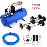 Hosmat 150DB Compressor 4 Trumpet Train Air Horn Kit with 120 PSI Air Compressor for Almost Any Vehicle Trucks Car SUV (Blue)