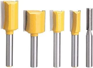 Bestgle Set of 5 Piece Straight Dado Router Bit Set Carbide Wood Milling Cutter Woodworking Tools, Cutting Diameter 1/4