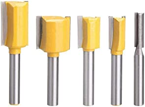 Bestgle Set of 5 Piece Straight Dado Router Bit Set Carbide Wood Milling Cutter Woodworking Tools, Cutting Diameter 1/4