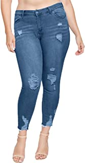 Qootent Women Plus Size Jeans Casual Pencil Denim Pants Button Regular Trousers