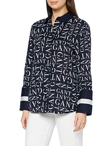GANT Damen D2 Word Shirt Hemd, Evening Blue, 38