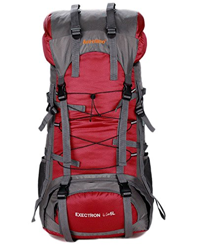 Minetom 75L Grande Capacità Zaino Ciclismo Campeggio Viaggio Escursionismo Montagna Alpinismo Tactical Backpack Impermeabile Rosso One Size(30*20*70 Cm)