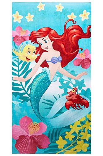 Disney Princess Handtuch Ariel mit Fabius und Sebastian, Strandtuch für Kinder aus 100% Baumwolle, Öko Tex Standard 100
