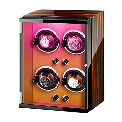 Jlxl Caja Enrolladora Reloj 4 Reloj Automático Winde Adaptador CA Y Batería Luces Colores Almohadas Reloj Ajustables Accesorios (Color : A)