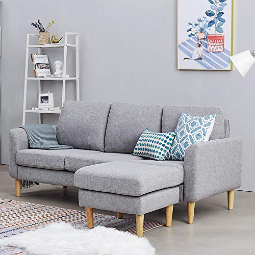 Panana 3 Seater Sofa Linen Fabric L Shaped Sofa with Footstool Corner Couch Lounge Sofa Left or Right Chaise Settee for Living Room (Grey, 3 Seater with foostool)