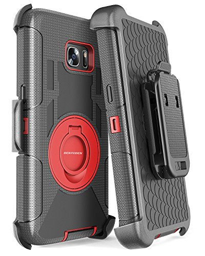 Galaxy S7 Edge Case, BENTOBEN Heavy Duty Shockproof Full Body Rugged Hybrid Protective Case for Samsung Galaxy S7 Edge with Kickstand Belt Clip Holster Cover, Black/Red