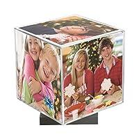回転式フォトキューブ クリア 台座(シルバー)付き 3.5 ×3.5インチの写真を5枚収納可