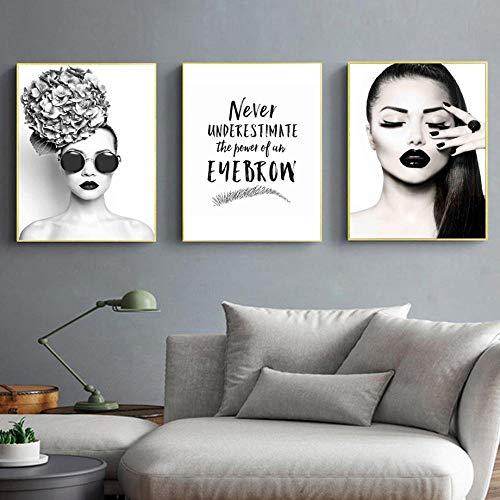 Moda mujer sexy gafas de sol ceja pared arte lienzo pintura carteles nórdicos e impresiones cuadros de pared para la decoración de la sala de estar 60 * 80 cm