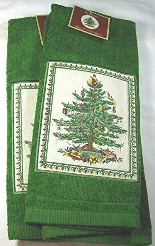 Set of 2 Spode Christmas Tree Kitchen Towels by Avanti Linens-100% Cotton-Green