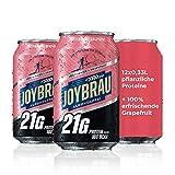 JoyBräu Proteinbier Grapefruit   Alkoholfreies Proteingetränk für Muskelaufbau und Regeneration   Hoher Proteingehalt: 21g Protein 10g BCAA   Erfrischender Geschmack   inkl. Pfand   12x 0,33l Dose