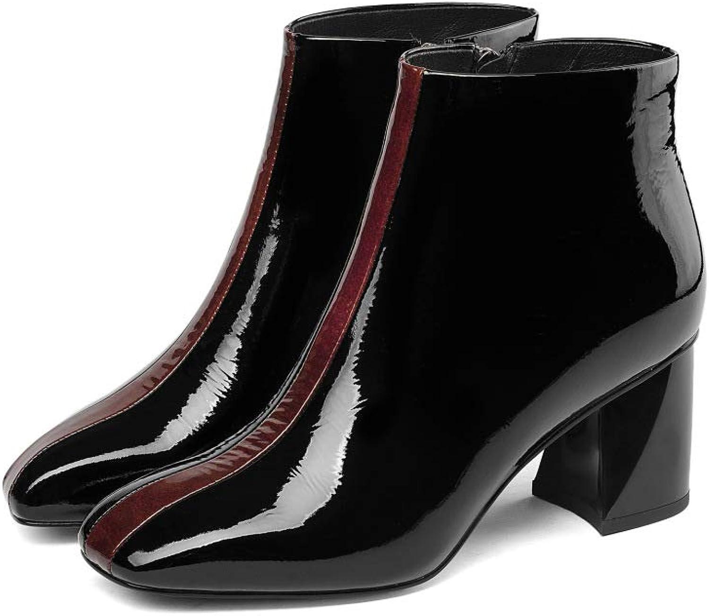 Kvinnlig Patent läder Ankle stövlar Mode Square Head Zipper Zipper Zipper stövlar Comfortable läder hög klack Martin stövlar  bra kvalitet