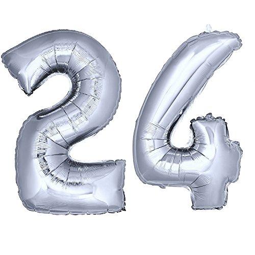 DekoRex® número Globo decoración cumpleaños Brillante para Aire y Helio en argentado 120cm de Alto No. 24