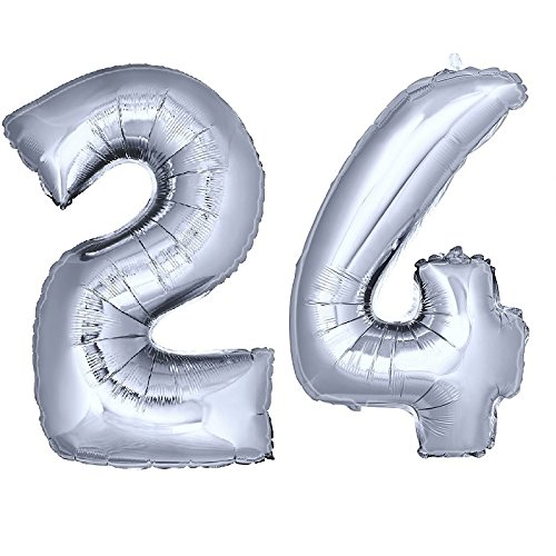 DekoRex® Folienballon Zahlenballon Heliumballon Luftballon Geburtstag Deko 100cm Zahl Silber 24
