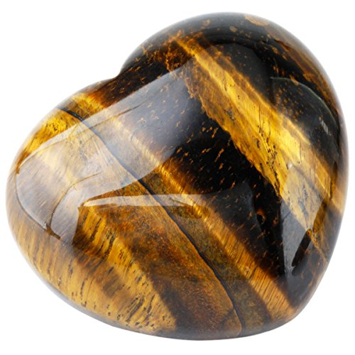 "SUNYIK Natural Tiger's Eye Stone Carved Puff Heart Pocket Stone,Healing Palm Crystal Pack of 1(1.6"")"