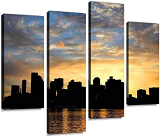 YKing1 Boston Skyline Silhouette at Sunset Wall Art Painting Pictures Print On Canvas Stretched & Framed Artworks Modern Hanging Posters Home Decor 4PANEL