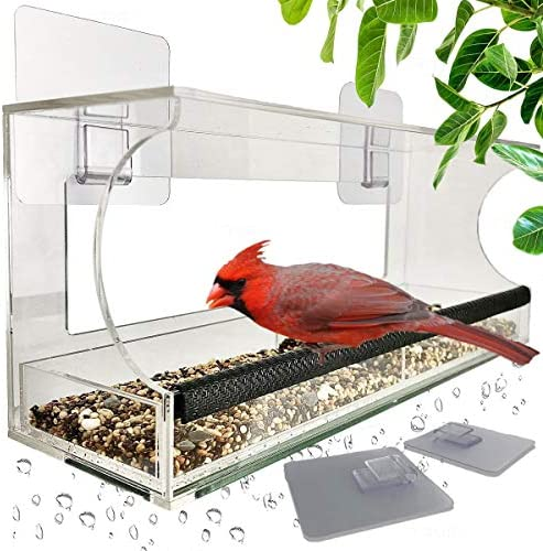 Window Bird Feeders with Sliding Feed Tray for Outside Never Falling Off Large Outside Bird product image