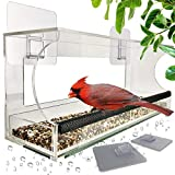 Foxup Window Bird Feeders with Sliding Feed Tray for Outside, Never Falling Off,...