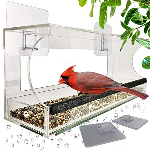 Window Bird Feeders with Sliding Feed Tray for Outside Never Falling Off Large Outside Bird Feeder for Wild Birds Hanging Birdhouse Kit Drain Holes Super Strong Hooks