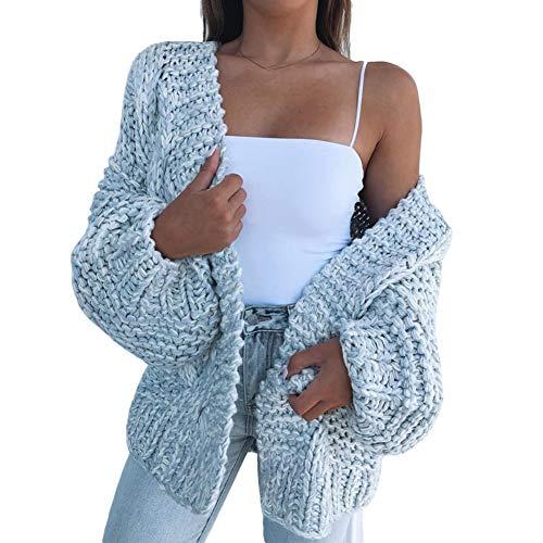 LPxdywlk Mode Winter Frauen Pullover Dicke Strickjacke Warme Einfarbig Mantel Offen Auf Der Vorderseite Casual Pullover Himmelblau XL