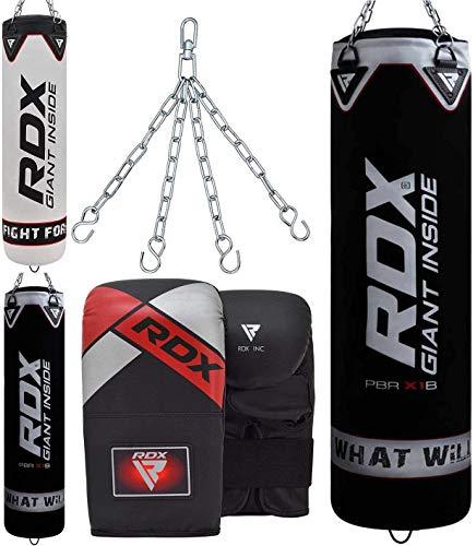 RDX Sacco da Boxe Pieno Arti Marziali MMA Sacchi Pugilato Kick Boxing Muay Thai con Guantoni Allenamento Catena 4FT 5FT Punching Bag Set