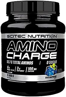 Scitec Nutrition BCAA Amino Charge Energy Boost - 100mg Caffeine & Zero Sugar - Blue Raspberry - 570g