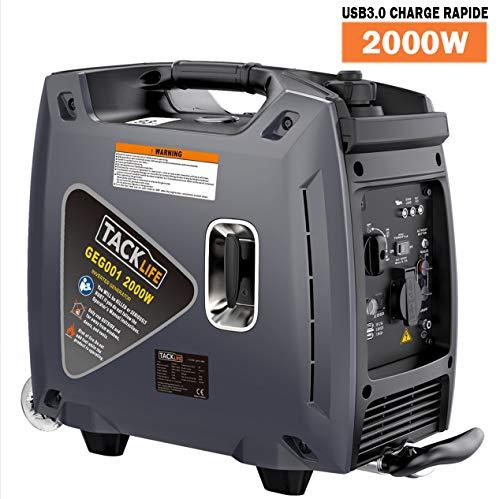 TACKLIFE Groupe Electrogène Silencieux, Génératrice portable à deux roues, 2000W Générateur Electrique à Essence, 4.2L Réservoir d'essence, Onduleur, Charge USB 3.0 - GEG001