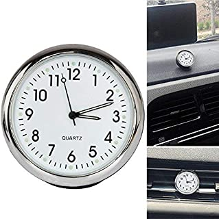 Acecharming High Accuracy Car Dashboard Clock Classic Table Mini Quartz Clock Car Onboard Small Round Luminated Clock (Size: 40 x 40 x 40 mm),White